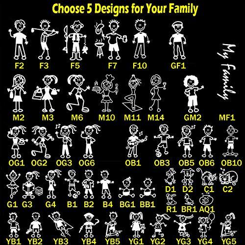 TOTOMO Seleccione 5 Figuras de 48 diseños únicos Stick Figure Mi Familia Sticker Coche con Pescado los Mascotas Conejo Familia de pájaro de la Etiqueta del Coche Pegatina para Windows Choque