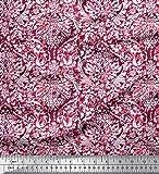 Soimoi Rot Georgette Viskose Stoff Blätter & Blumen Batik