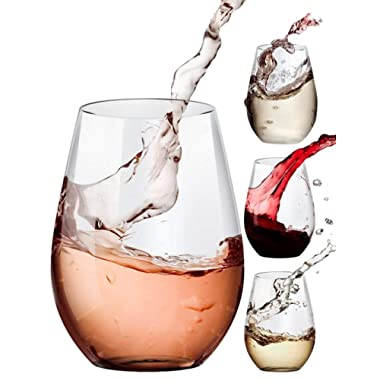 Stemless Wine Glasses, 20oz Set of 4 - Clear - Amallino