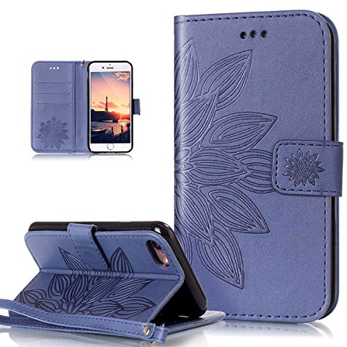 ikasus Coque iPhone 8/7 Etui Motif Gaufrée Fleur du soleil Etui Housse Cuir PU Portefeuille Folio Flip Case Cover Wallet Carte crédit Case Coque Housse Etui pour iPhone 8/7,bleue