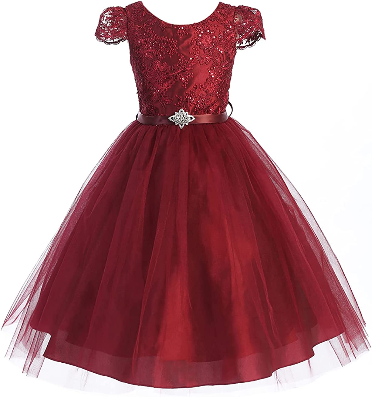 Dreamer P Sleeveless Sequins Rhinestones Flower Gi Pageant Tulle Max 72% OFF Max 49% OFF