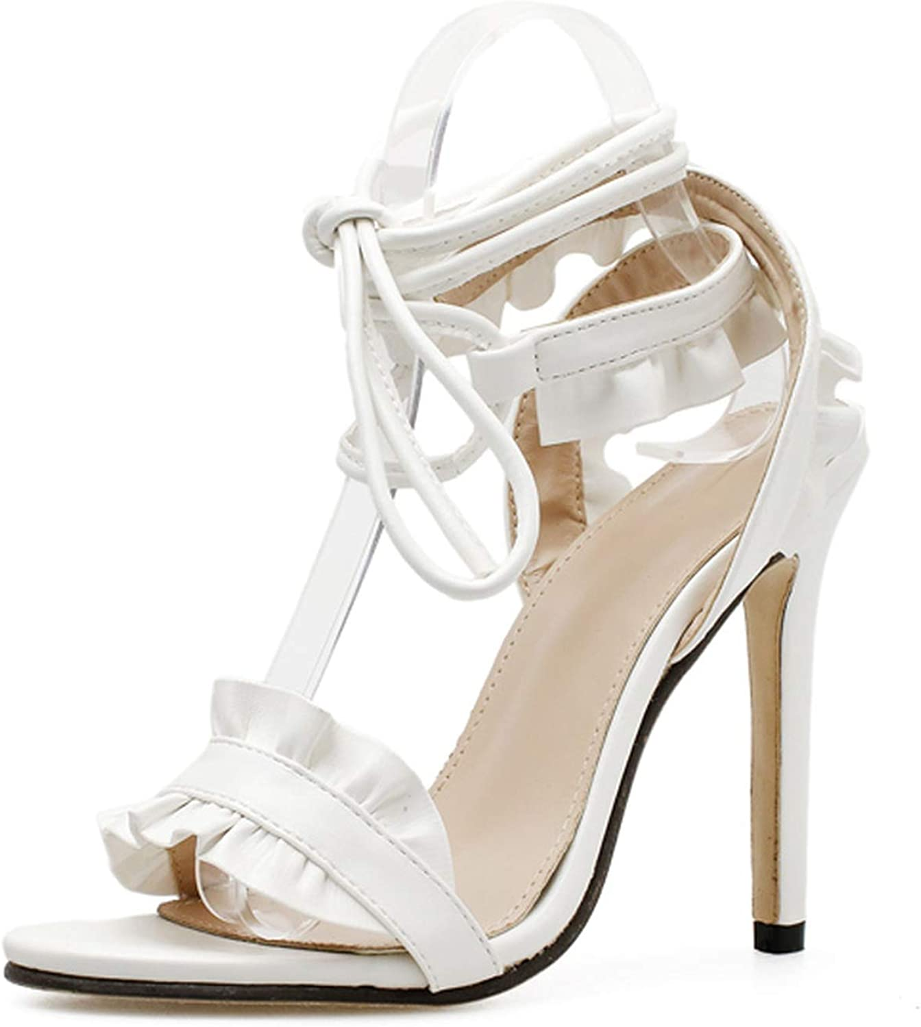 Ches Ankle Strap High Heels Sandals Women Pumps Thin Heel Ruffle Lace-Up Summer shoes Fashion Pompes Women White Wedding