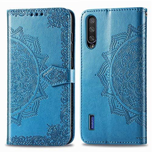 Bear Village Hülle für Xiaomi MI 9 Lite/MI A3 Lite/MI CC9, PU Lederhülle Handyhülle für Xiaomi MI 9 Lite/MI A3 Lite/MI CC9, Brieftasche Kratzfestes Handytasche mit Kartenfach, Blau