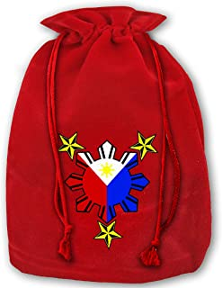 Allgobee Large Christmas Bag Filipino Philippine National Flags Velour Santa Sack Drawstring Bags Jewelry Pouches