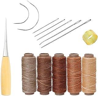 Yulakes 14 Stück Leder Handwerk Werkzeug Hand Nähen Nadeln Polsterung Teppich Leder Segeltuch DIY Nähzubehör mit 5 Stück 50M 150D Leder Nähen Wachsfaden arbe 1
