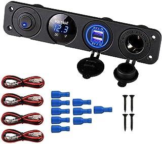 Thlevel Panel de Enchufes 4 en 1, con Doble Cargador USB y Voltímetro de LED y Encendedor de Cigarrillos y LED Azul Interr...