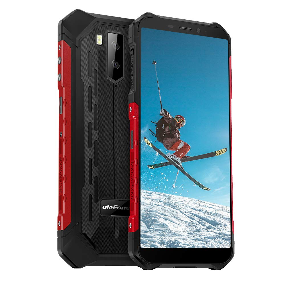 "4G Rugged Phones Unlocked, Ulefone Armor X5 IP68 Waterproof Rugged Smartphones, Android 10 Octa-core 3GB + 32GB ROM, 13MP+2MP Dual Rear Camera 5.5"" HD+ Screen 5000mAh NFC, Face ID, GPS, WiFi -Red"