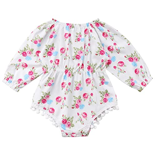 Newborn Kids Baby Girls Clothes Floral Outfits Set Long Sleeve Romper with  Kangaroo Pocket Fall Winter 6bf775a9a