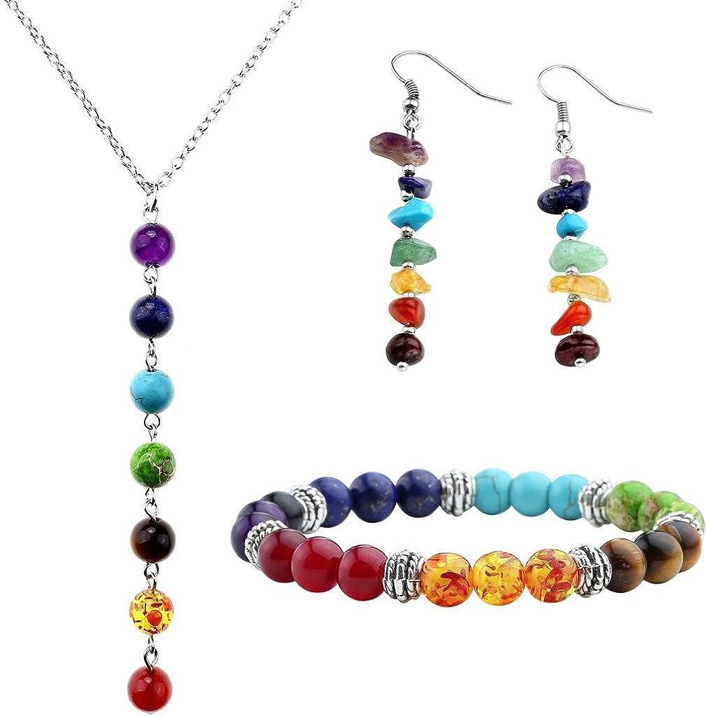 Top Plaza 7 Chakra Lava Rock Stone Beads Yoga Reiki Healing Energy Balancing Necklace Bracelets Earrings Jewelry Set