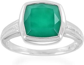 ATELIER PINKCITY خاتم عقيق أخضر أصلي 925 فضة إسترلينية مطلية بالروديوم خواتم للرجال