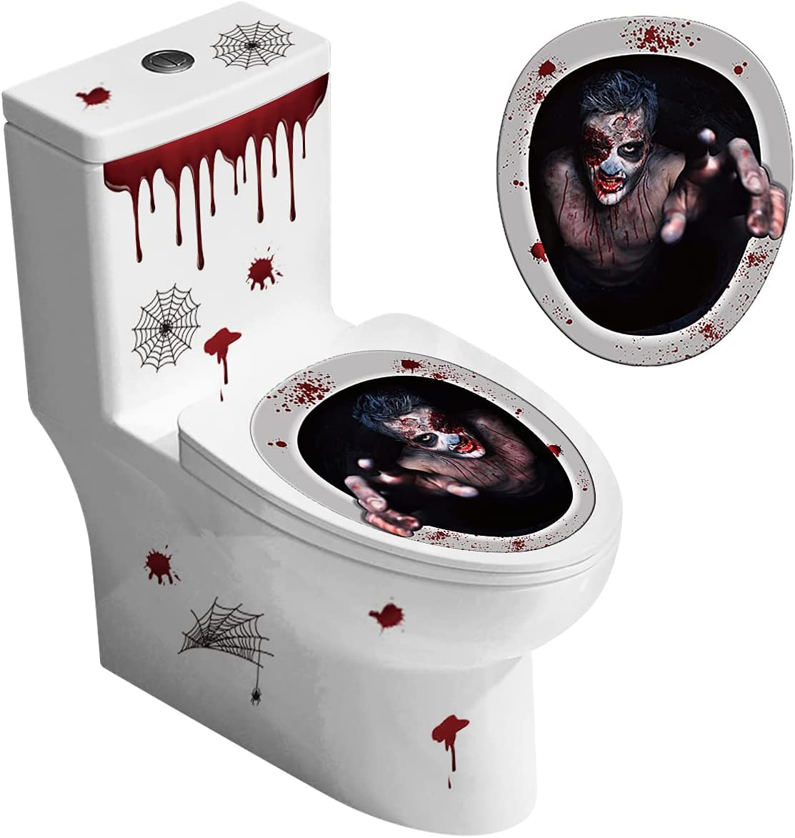 2 Pieces Halloween Toilet Lid Decals 3D Horror Toilet Decoration, Bloody Terror Dripping Blood Toilet Topper DIY Self-Adhesive Wall Cling Stickers Halloween Party Decor (Midnight Calling Back)