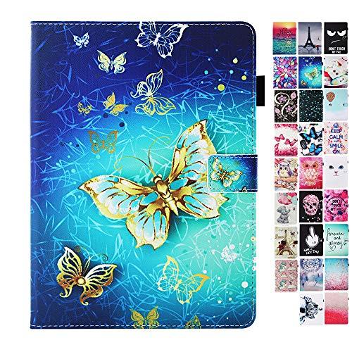Coeyes Tablet-PC Hülle kompatibel für Huawei MediaPad M5 / M5 Pro 10.8 Zoll Tasche Leder Flip Hülle Etui Schutzhülle Cover mit Kartenfach - Gold Schmetterling