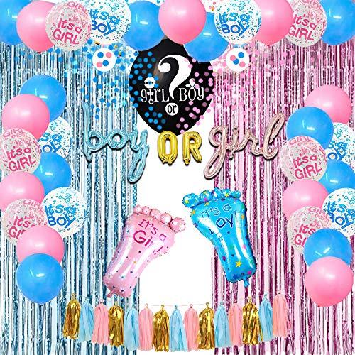 SKYIOL Gender Reveal Party Dekoration Geschlecht Verkünden Luftballons Baby Shower Deko Set mit XXL Boy or Girl Konfetti Ballon Rosa Blau Folienballon Latex Helium Ballons Quaste Regenvorhang