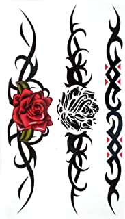 SPESTYLE waterproof non-toxic temporary tattoo stickersWaterproof and sweat temporary tattoos sexy Red rose Black rose for women