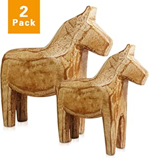 Reoean Set of 2 Vintage Unfinished Swedish Wooden Dala Horse Figurine(CAN by Yourself DIY Color Painting) Wooden Horse Figurine Statue Horse