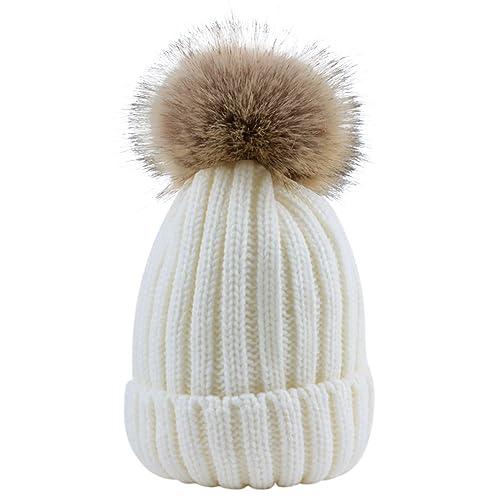 56220c387f1ef Sunbeter Hiver Bébé Tricot Chapeau Mignon Bonnet Chaud Chapeau avec Deux  Pompons De Fourrure pour Bébé