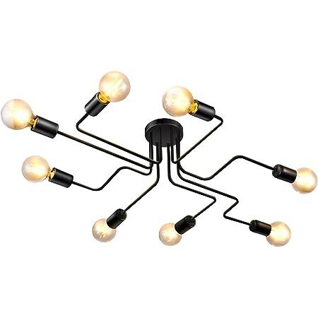 Lightess Plafonnier Lustre Luminaire Industriel en Metal Lampe Rétro Eclairage Suspension Vintage DIY 8 Bras E27 Noir Pour Salon Cuisine Couloir Loft salle à manger Bar Café (Sans Ampoule)