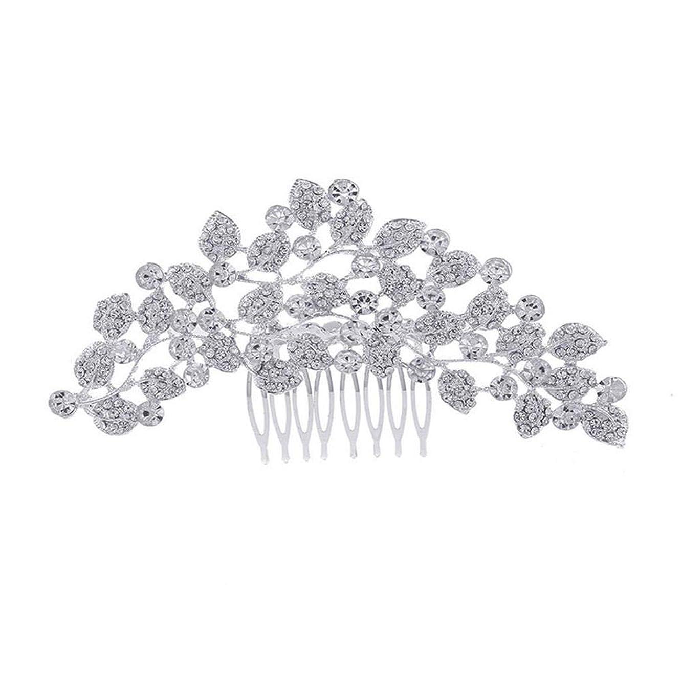 密ゲートじゃがいも髪の櫛、櫛、ブライダル髪、櫛、髪の櫛、ラインストーンの櫛、葉の髪の櫛、結婚式の髪の櫛