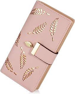 INOVERA (LABEL) Rose Gold Vegan Leather Women's Leaf Bi-fold Card Coin Holder Long Purse Clutch Wallet (KK22)
