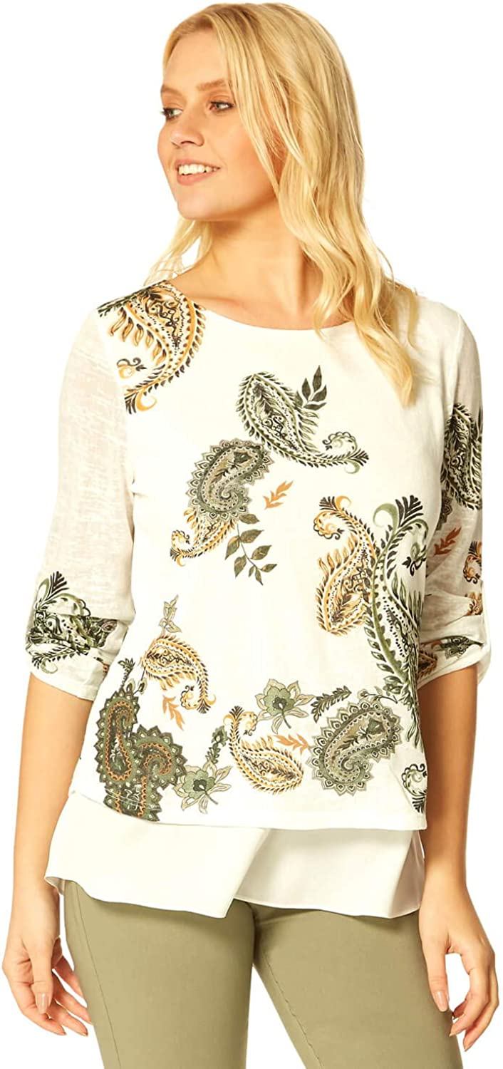 Roman Originals Womens Paisley Print Top Layer Double - Ladies Ranking Chicago Mall TOP18