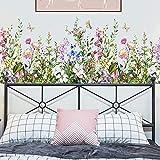 Calcomanías de pegatinas de pared de flores de plantas verdes, pegatinas de pared de vinilo de flores extraíbles, mural de arte de pared de bricolaje para el aula, oficinas, dormitorio, sala de estar