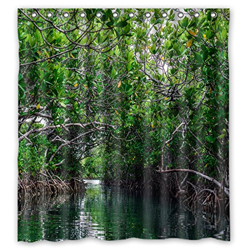 DOUBEE Badezimmer schöne Mangrovenbaum Wasserdichtes Duschvorhang Shower Curtain 66