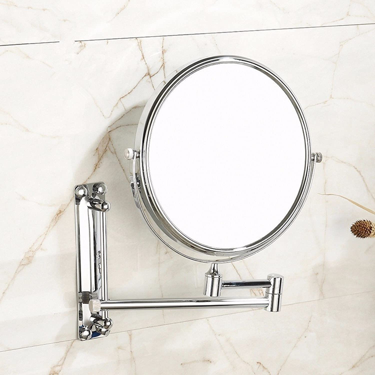 Copper folded against the wall type cosmetology mirror European-style bathroom vanity mirror wall mount makeup mirror-8 inch
