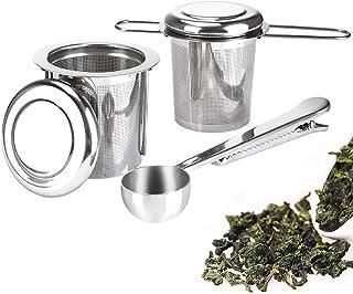 Pack de 2 Infusor de Té en Acero Inoxidable Colador Filtro con Tapa y Asa para Tazas de Té Café Ollas Té a Granel Hojas de Té Sueltas, con Cucharada de Té y Bandejas de Goteo