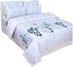 Florida Beadsheet with 2 Pillow Cover 100% Pure Cotton Double Bed Sheet(White & Printed)