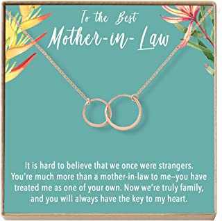 Dear Ava Mother-in-Law Gift Necklace: to My Mother-in-Law, Mother of My Husband, 2 Asymmetrical Circles
