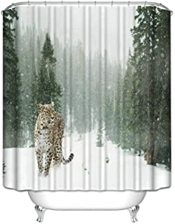 SPXUBZ Leopard in Snow for Prints Shower Curtain Waterproof Bathroom Decor Polyester Fabric Curtain Sets with Hooks