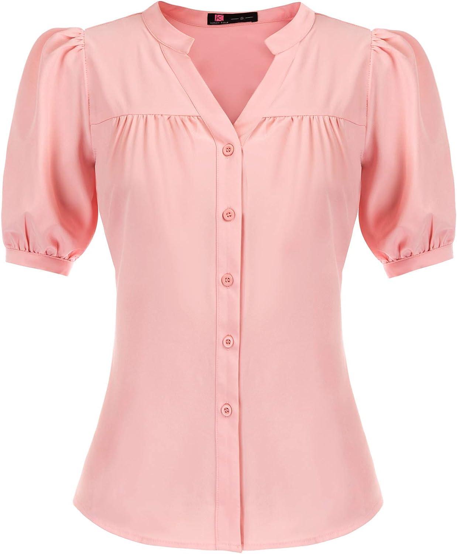 KANCY KOLE Womens Button Down Shirts Short Sleeve V Neck Tops Casual Work Blouse Shirt