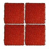 4pcs césped artificial, decoración de jardín césped artificial con agujero de drenaje Mat simulación césped (rojo)