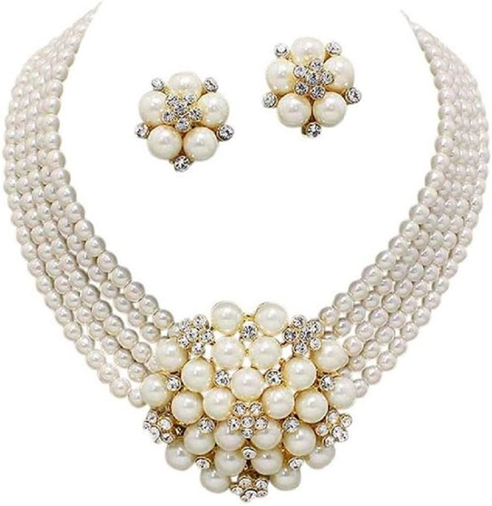 Chunky Women Elegant Statement Cream Simulated-Pearl Cluster Crystal Bridal Gold Chain Necklace Set CLIP ON Earring