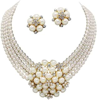 Elegant Statement Cream Simulated-Pearl Cluster Crystal Bridal Gold Chain Necklace Set CLIP ON Earring