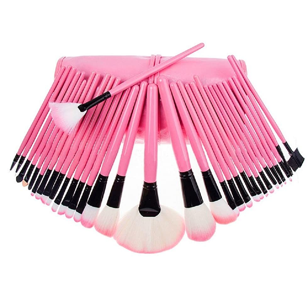 める二年生ベールVinmax メイクアップブラシ 化粧筆 メイクブラシ 32点セット 専用ポーチ付き ピンク 柔らかい