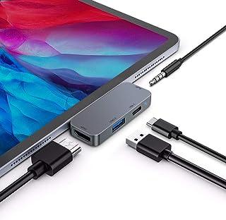 "iPad Pro ハブ 4in1 USB C ハブ対応iPad Pro 2020/2018 11/12.9""/iPad Air 4/4K HDMI出力 タイプC PD充電 3.5mmオーディオジャック USB3.0データ転送 タイプC変換 Ma..."