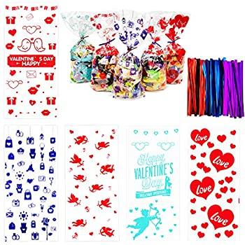 150 pcs Valentine Cellophane Bags Valentines Cellophane Treat Bags Goodie Bags with Ties for Valentine s Day Party Supplies 5 Styles