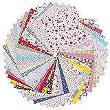 Fanuse 50 Piezas (20 Cm X 20 Cm) Paquete de Tela Artesanal de AlgodóN Cuadrados Patchwork DIY Costura Fieltro Hojas de Tela Patchwork