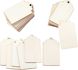 Beadthoven 100pcs Natural Unfinished Blank Wood Tag Rectangle Pendants for DIY Cratfing Making 2.6 x 1.5 Inch
