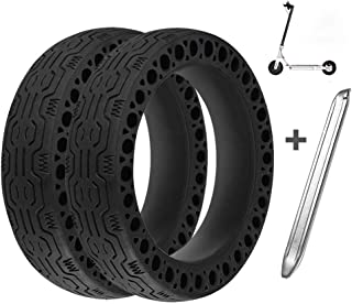 Suremita 2 Pieces Honeycomb Rubber Solid Tire for Xiaomi M365 Electric Scooter, 8.5 Inch Tire Tubeless Solid Tyre for Mijia M365 + 1 Stainless Steel Tire Levers