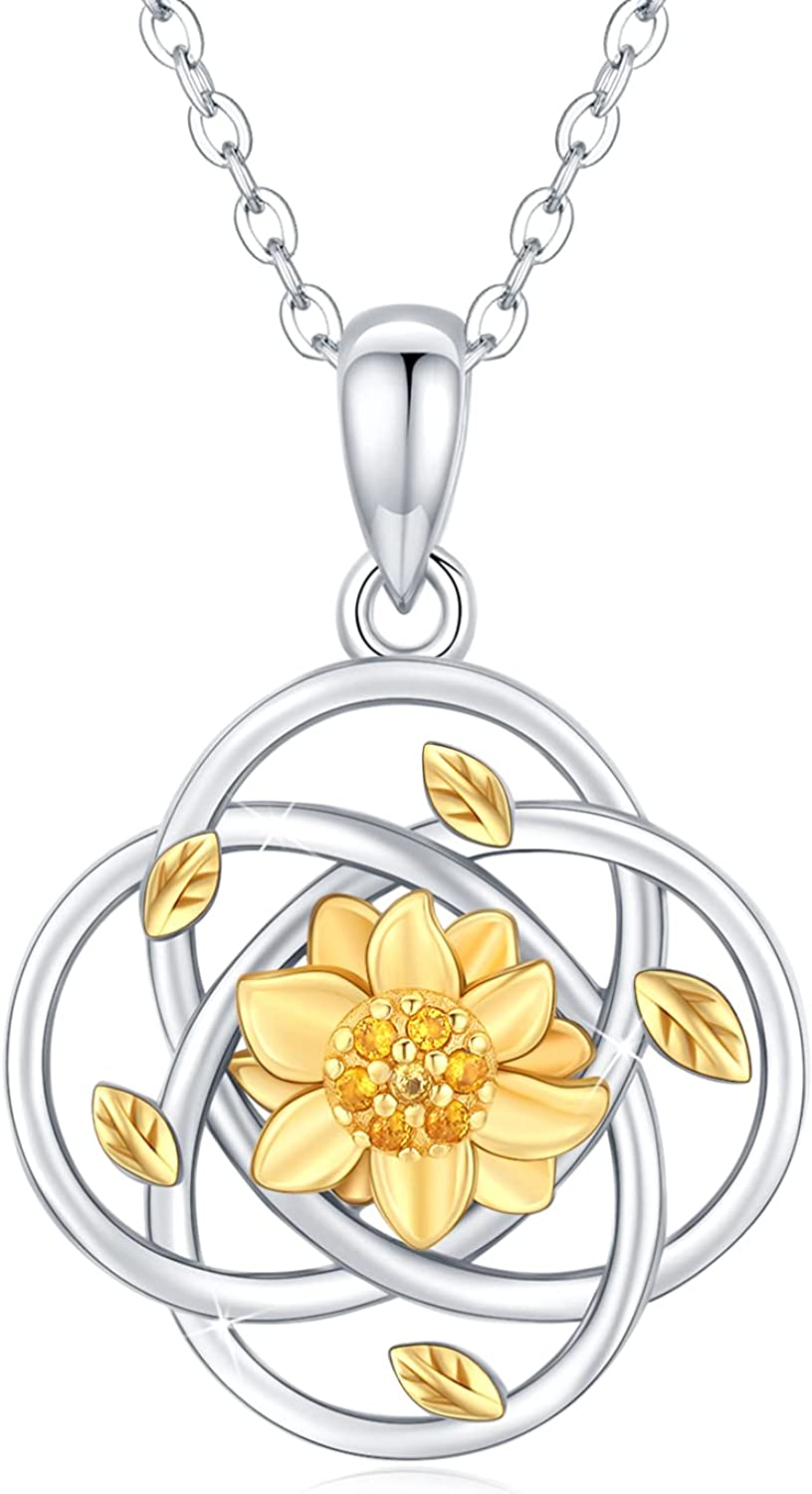 Waysles Sunflower Necklace Limited price for Women Silver Irish Reservation Sterling 925