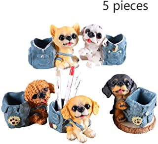 Pen Holder - Cute Puppy Resin Pen Holder, Send Children Creative Birthday Gift, Desktop Decoration Pen Holder, 5 Sets