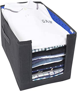 PrettyKrafts Shirt Stacker Closet Organizer - Shirts and Clothing Organizer - (Single) (Black & Blue-standard