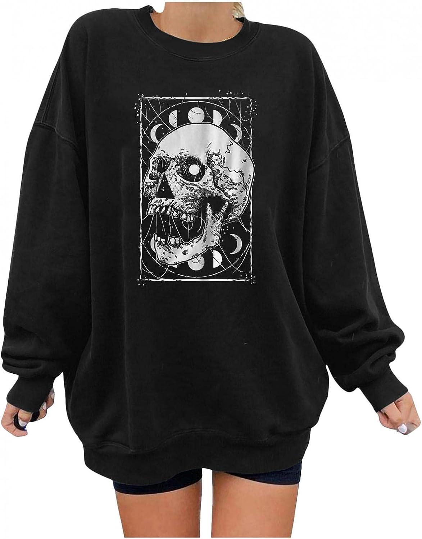 POLLYANNA KEONG Long Sleeve Tops for Women,Womens Casual Pumpkin Skeleton Printed Round Neck Halloween Sweatshirts Top