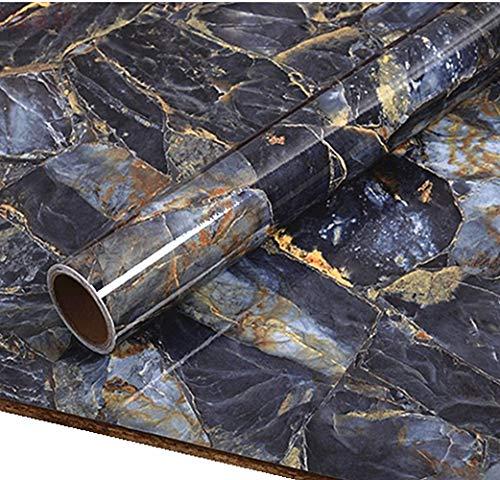40 cm x 200 cm elegante blaue Stein-Marmor-Papier zum Abziehen von Granit Vinyl-Tapete für Küche, Badezimmer, Arbeitsplatte, Möbel, Marmor, selbstklebende Rückseite aus Kunststoff