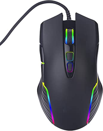 Adjustable 4000DPI Ergonomic Design 7 Buttons RGB Colorful LED Lights Designed for Laptop Computer Games and Work WANGCHAO Wired Side Button Gaming Mouse