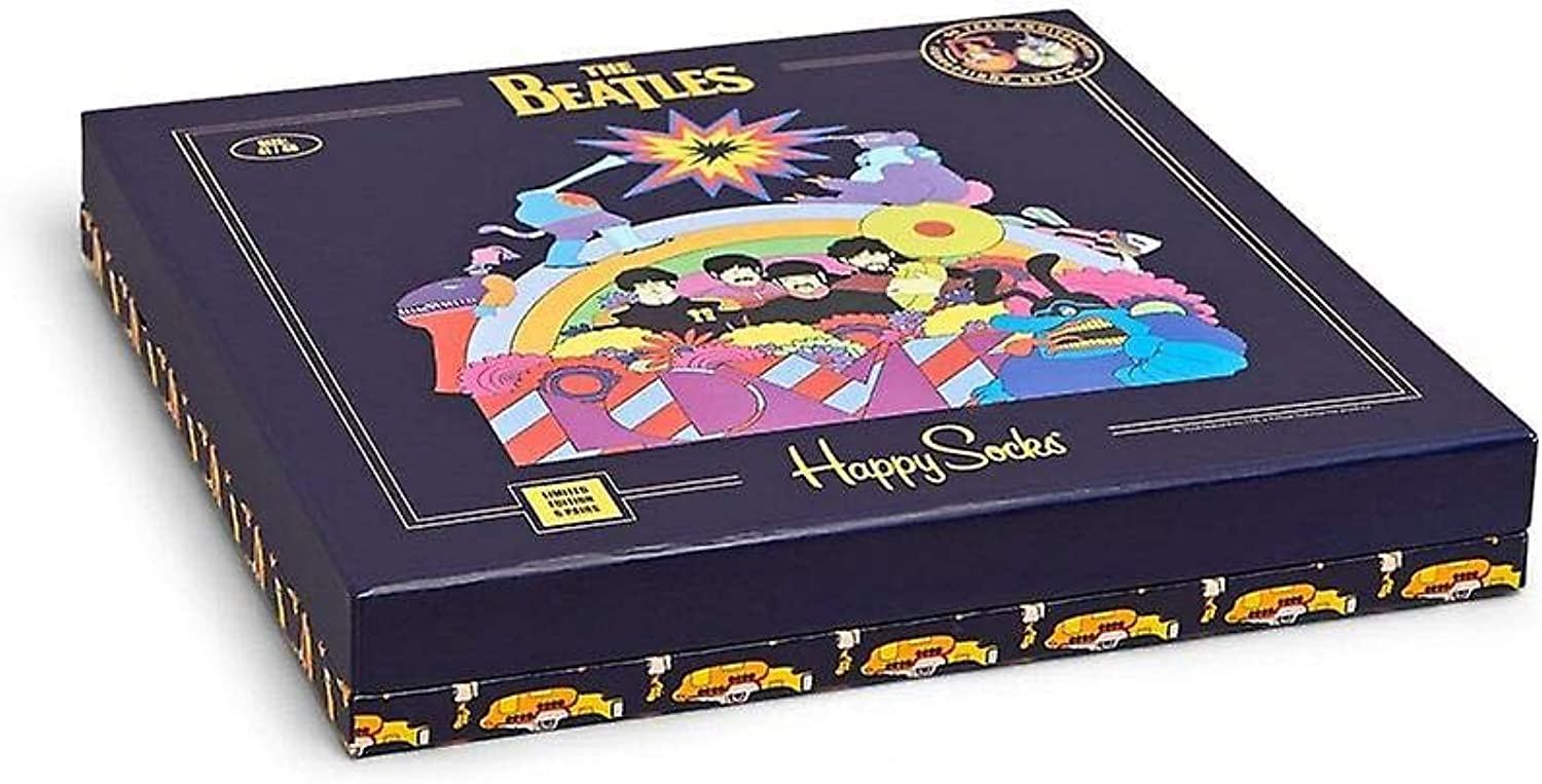 Happy Socks Limited Edition The Beatles Yellow Submarine 6 Pack Collector's LP Box (Assorted, 10-13)