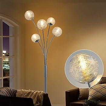 Depuley LED Stehleuchte Wohnzimmer mit Glas Kugel, Modern Stehlampe  Schlafzimmer, mit Fußschalter, Augenschutz, 9-9V, Standleuchte 9  Flammig für