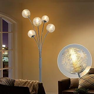 Depuley Lampadaire LED pour salon avec boule en verre, lampe sur pied moderne pour chambre à coucher, avec interrupteur au...
